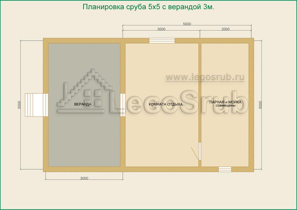 проект бани 5х5 с террасой фото
